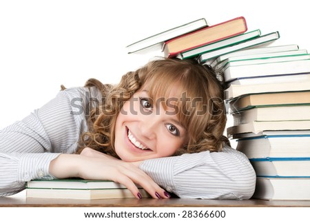 Graceful female student with books - stock photo