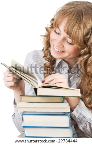 Graceful female student with books isolated - stock photo