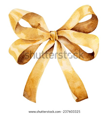 Graceful golden bow isolated on white background. Watercolor illustration - stock photo