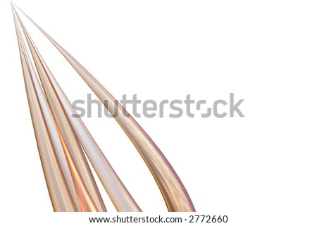 graceful golden curved shapes stretch upwards to a point - stock photo