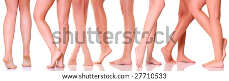 Graceful legs of seven girls, isolated on a white background, please see some of my other parts of a body images: - stock photo