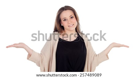 Graceful young woman shrugging isolated on a white background - stock photo