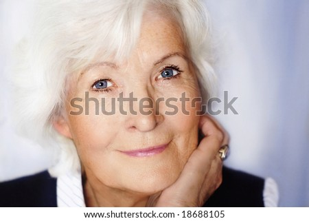 Gracious senior lady portrait - stock photo
