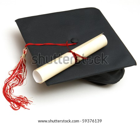 Grad hat and Diploma - stock photo