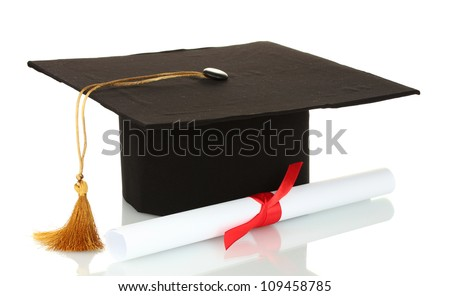 Grad hat and diploma isolated on white - stock photo