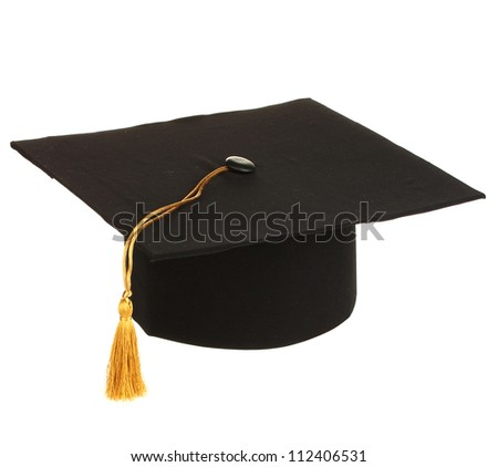 Grad hat in hand isolated on white - stock photo