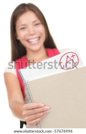 Grade / test results. Female student showing perfect grade A plus. Isolated on white background, focus on grades. - stock photo