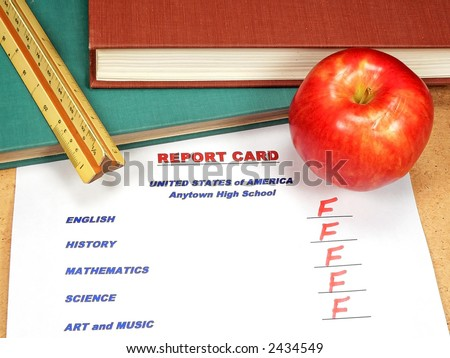 Graded School Papers - stock photo
