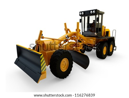 Grader machine isolated on white bacground