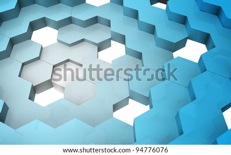 Gradient blue 3D hexagons structure