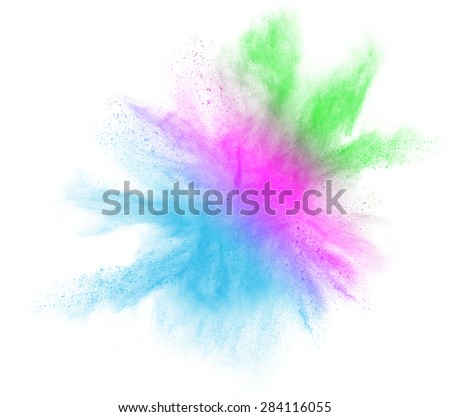 Gradient colorful powder splash isolated on white background - stock photo