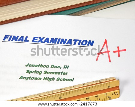 Grading Papers for School - Final - stock photo