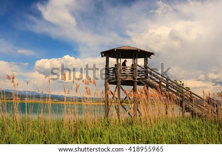 GRADO, ITALY - APRIL, 25: Birdwatching tower in the Nature reserve of the Isonzo river mouth on April 25, 2016 - stock photo