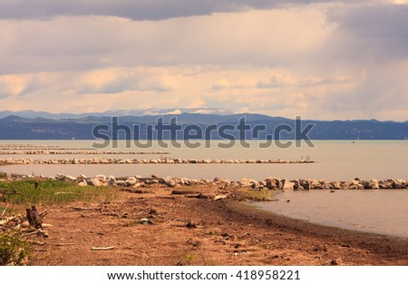 GRADO, ITALY - APRIL, 25: Nature reserve of the Isonzo river mouth on April 25, 2016 - stock photo