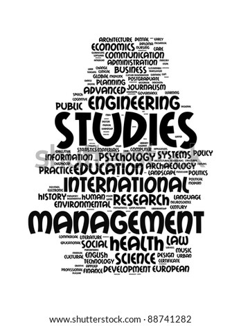 graduate and post graduate info-text graphics and arrangement concept on white background (word clouds) - stock photo