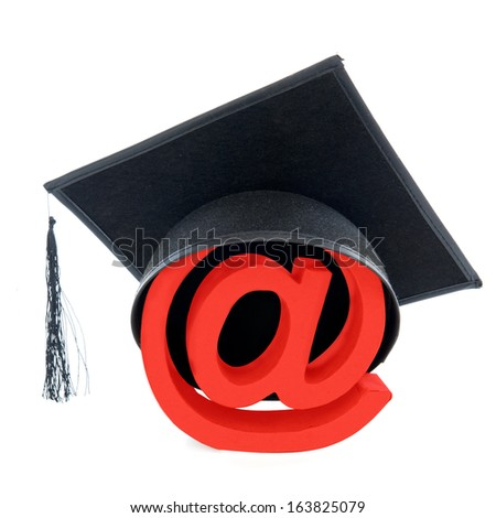 Graduate as computer specialist, on a white background - stock photo