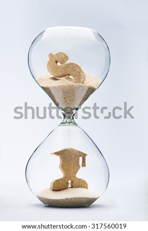 Graduate figure made out of falling sand from dollar sign flowing through hourglass - stock photo