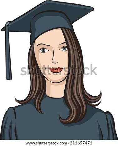graduate girl - stock photo