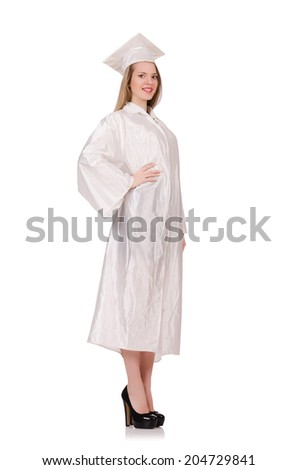 Graduate girl solated on white - stock photo