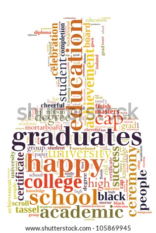 Graduate info-text graphics and arrangement concept (word cloud) - stock photo