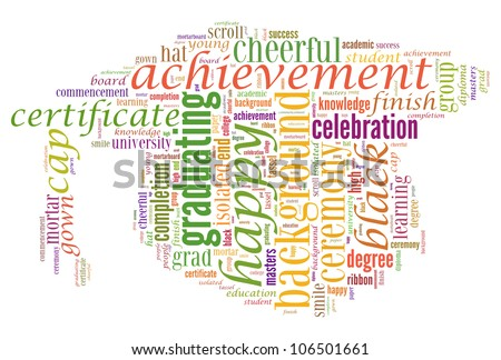 Graduate info-text graphics and arrangement concept (word cloud) on white background - stock photo