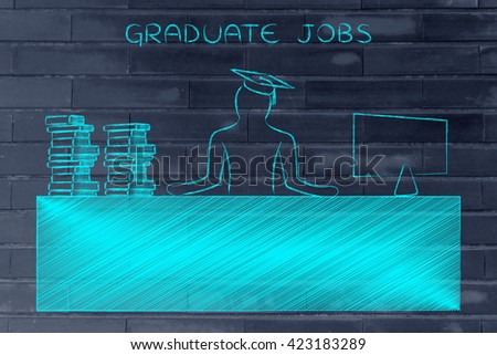 graduate jobs: person with graduation hat and pile of book sitting at office desk with computer - stock photo