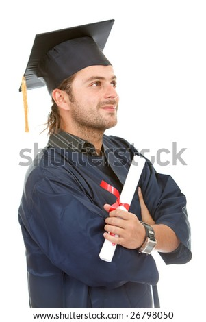 Graduate male stundent isolated over white