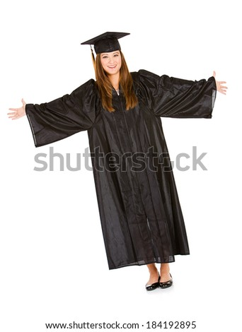 Graduate: Pretty Female Student In Cap and Gown