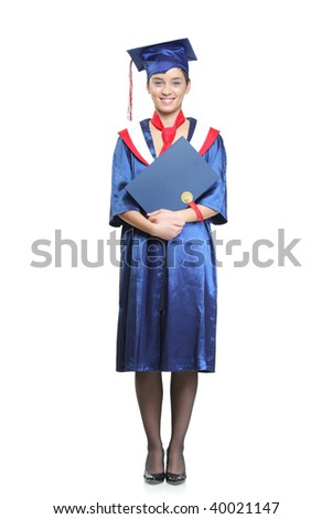 Graduate student holding her diploma isolated against white background - stock photo