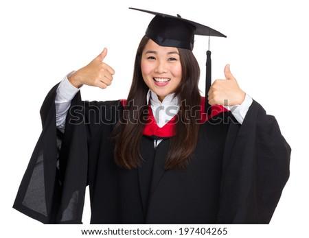 Graduate student show thumb up - stock photo