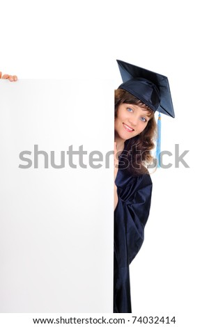 Graduate student with banner - stock photo