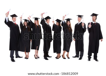 Graduate students raising hands. Isolated on white background