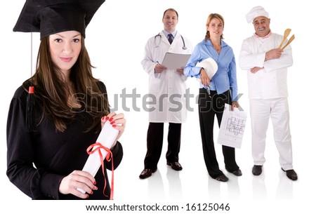 graduate university student choosing future occupation - stock photo