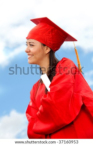 Graduate woman portrait looking to the horizon