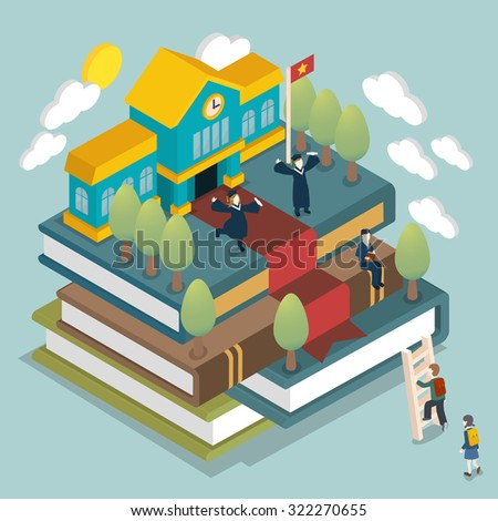 graduated concept in 3d isometric flat design - stock photo