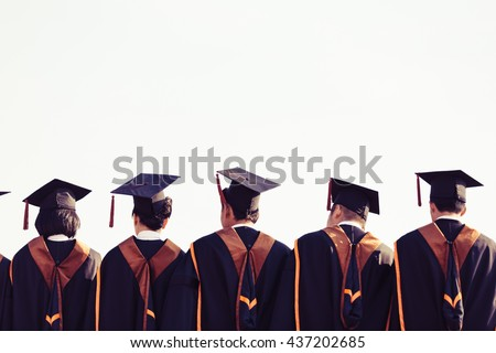 Graduates are stand up in line to get your degree ,vintage style,graduates behind isolated.