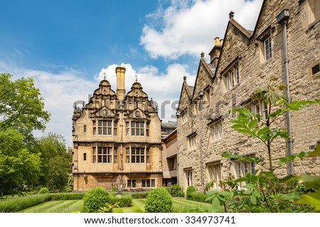 Graduates Garden and Jackson Building. Trinity College, Oxford University, Oxford, England, UK - stock photo