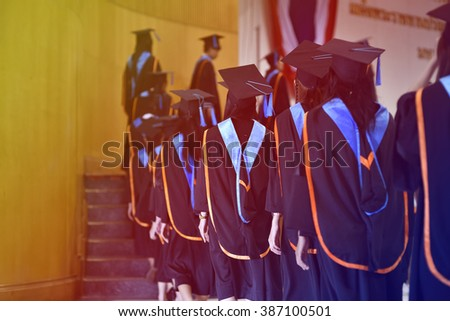 Graduates of the university ,Walking in line to get a diploma. - stock photo