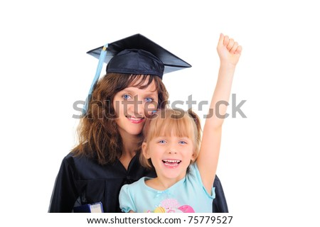 Graduating mom with cute daughter - stock photo