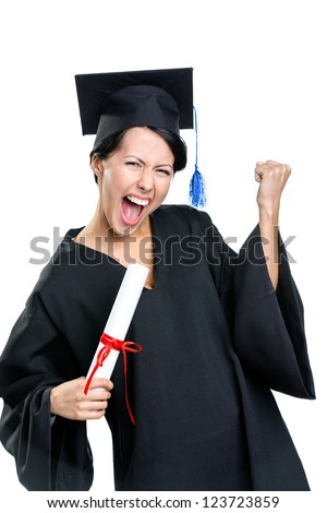 Graduating student gesturing fist with the certificate that is the symbol of wisdom and knowledge, isolated on white
