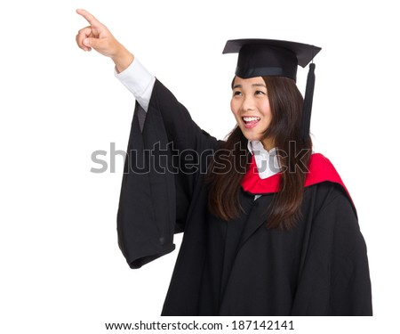 Graduating student girl finger pointing up