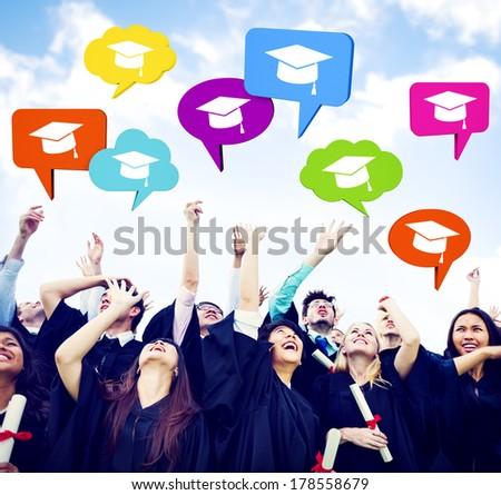 Graduating Students Celebrating with Speech Bubbles - stock photo