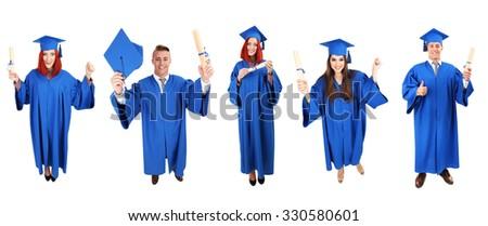 Graduating students, isolated on white - stock photo