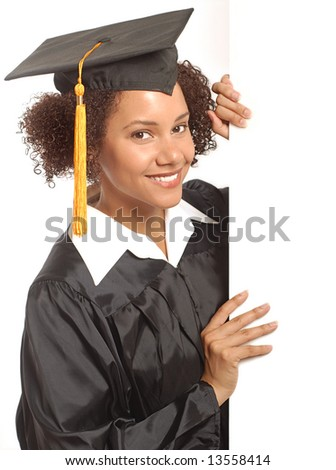 Graduating woman holding expandable copy space banner - stock photo