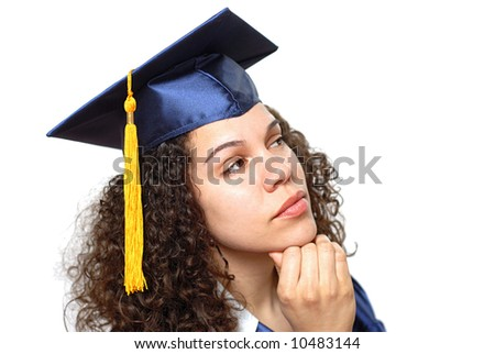 Graduating woman in thought - stock photo