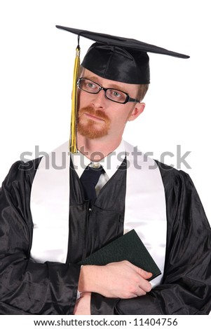 graduation a young man cry on white background