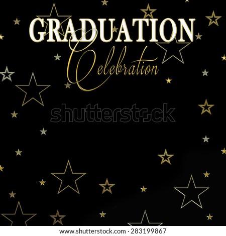 Graduation Background Gold Stars Bordering Black Stock ...