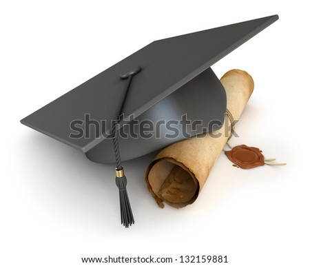 Graduation cap and diploma. Conceptual illustration. Isolated on white background. 3d render - stock photo