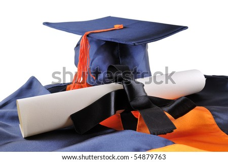 Graduation cap and diploma isolated on a white background.