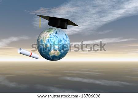 Graduation cap and diploma with Earth and sky map courtesy nasa - stock photo